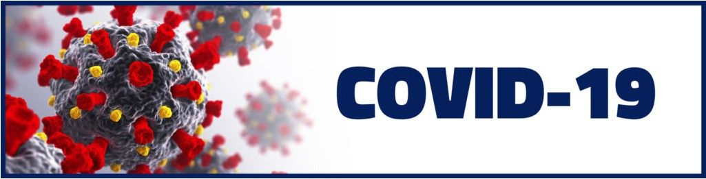 A banner showing what a virus looks like under a microscope and COVID-19 next to it